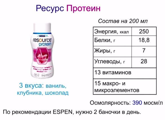Ресурс Протеин. По рекомендации ESPEN, нужно 2 баночки в день