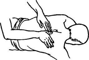 Рис. 10. Прием «сверление» первым способом (слева от позвоночника)